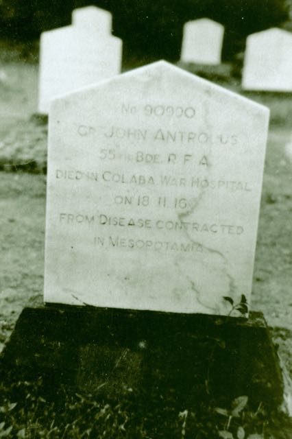 Headstone of John Antrobus